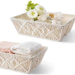 2 pcs UO Macrame Woven Boho Storage Baskets Decor